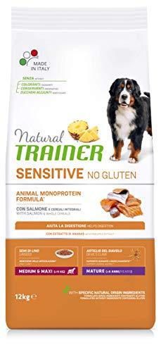 Natural Trainer Sensitive No Gluten - Cibo per Cani Medium&Maxi Mature con Salmone e Cereali Integrali 12kg