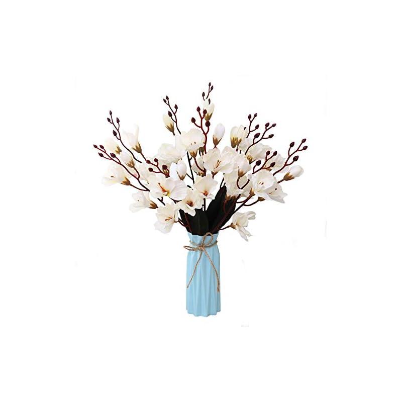 silk flower arrangements nadalan artificial flower arrangements bulk with vase fake white gladiolus silk plastic flowers for home decor desk garden party wedding decoration (white-gladiolus)
