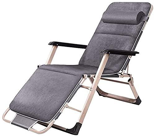 Sillones reclinables para exteriores, plegables y reclinables, con marco de acero resistente con almohada desmontable, para patio al aire libre, balcón