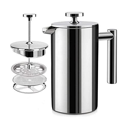 YJSS JXXXJS 350/800 / 1000ml Tipo de presión Máquina de café Pantalla de Acero Inoxidable Filtro de Pared de Doble Pared Pote de café Presión de té Espresso Máquina (Color : 1000ml)
