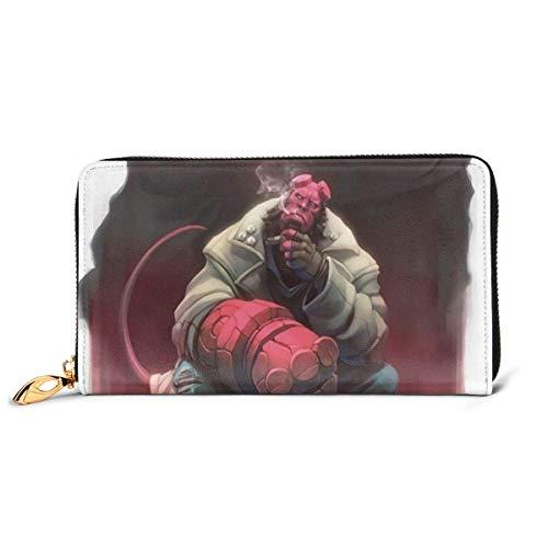 XCNGG Hellboy Animated Art Wallet Blocking Echtes Leder Geldbörsen Double Zip Wallet Organizer Clutch Bag Kreditkartenhalter Große Kapazität Geldbörse Handytasche Für Männer Frauen