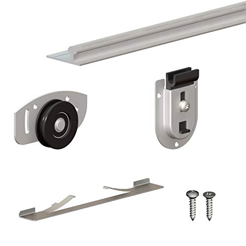 Schiebetürbeschlag SLID'UP 130, Laufschiene 120 cm, 2 Türen bis je 70 kg, für Schränke, Kleiderschränke, Wandschränke
