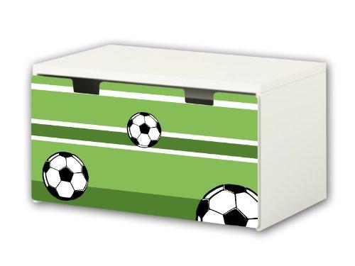 Fútbol pegatinas | pegatinas para muebles | BT04 | adecuado para el arcón de banco STUVA de IKEA para niños (90 x 50 cm) | Perfecto como arcón de juguetes y banco | (mueble no incluido) STIKKI