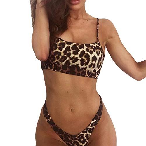 CAOQAO Damen Leopard Print Push-Up Gepolsterter BH Niedrige Taille Strand Bikini Set Badeanzug Bademode