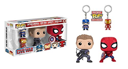 Funko POP! Marvel Capitán América Civil War: Ojo de Halcón + Spider-Man con escudo + Keychan POP! Marvel Capitán América Civil War: Capitán América + Iron Man