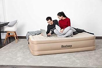 Bestway Fortech Matelas Gonflable Essence avec Pompe électrique intégrée Double XL/Mid 203 x 152 x 46 cm