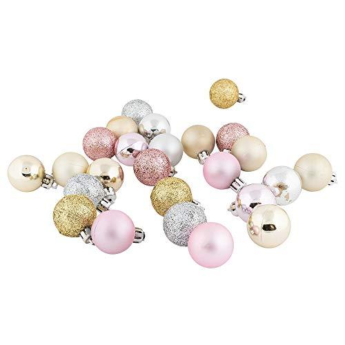 Decorazioni per albero di Natale | 25 pezzi | Ø 3 cm | oro chiaro, argento, rosato in lucido opaco | Ciondolo per albero di Natale | decorazione per albero di Natale