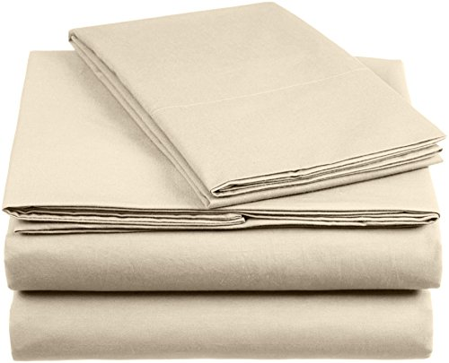 AmazonBasics Everyday Bettwäscheset aus 100 Prozent Baumwolle, Tapioca 135x200 cm & 1 Kissenbezug 50x80 cm