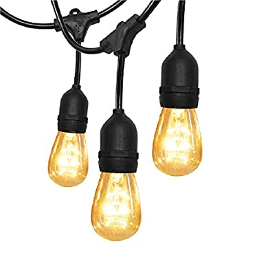 52Ft Outdoor String Lights - with UL SUPERDANNY Weatherproof 30 Bulbs and 30pcs (6 for Spare) Edison Vintage Cable Ties for Patio Porch Garden Backyard Wedding Party