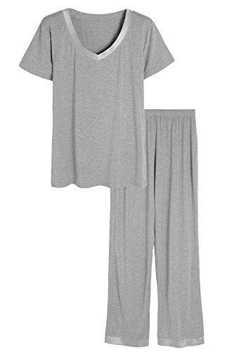 Latuza Women's V-neck Sleepwear Short Sleeves Top with Pants Pajama Set 2X Light Gray