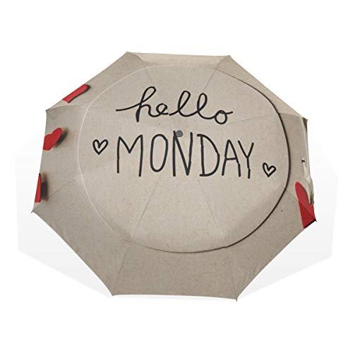 Reisender Sonnenschirm Ich Liebe Happy Monday Words 3-Fach Kunstschirme (außerhalb des Drucks Regenschirme Sun Compact Winddichte Regenschirme für Frauen Kompakte wasserdichte Regenschirme