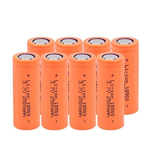 ndegdgswg 3.7 V 2500 mAh 18500 batería de ion de litio, de larga duración para baterías de coche de respaldo de banco de energía 8 piezas