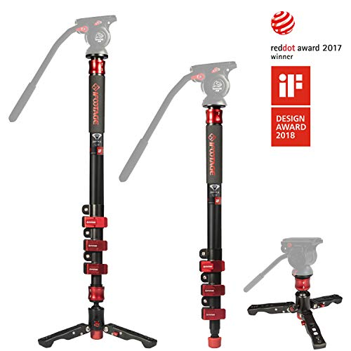 "IFOOTAGE 71"" Carbon Fiber Camera Monopod Professional Telescopic Video Monopods Base Tripod Compatibility DSLR Cameras Camcorders"