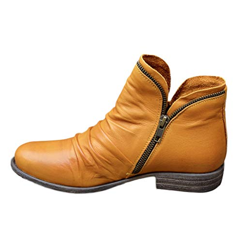 Celucke Stiefeletten Damen Ankle-Boots Flach Spitze Stiefel Kurzstiefel mit Reissverschluss, Frauen Wildleder Schuhe Bequem Damenschuhe Mode Elegant Halbstiefel (Gelb, 39EU)
