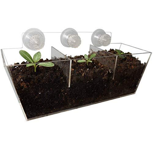 NIUXX Acryl Fenster Pflanzgefäße, kreative Blumentopfhalter Pflanzen Tablett Regal mit Saugnapf, große Outdoor Indoor dekorative Geschenk für Zuhause (L 30x10x13cm)