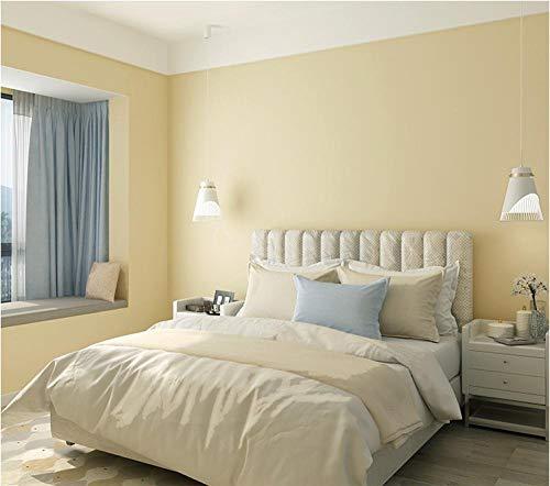 Papel pintado 3D Nacarado brillante no tejido Papel pintado amarillo claro para decoración de pared de dormitorio y hogar, papel pintado minimalista de lujo 0.53mx9.5m