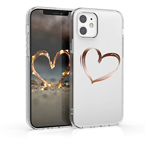 kwmobile Hülle kompatibel mit Apple iPhone 12/12 Pro - Hülle Handy - Handyhülle Herz Brush Rosegold Transparent