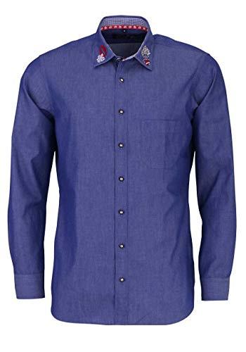 Marvelis Casual Fit Trachtenhemd Langarm New Kent Kragen Rauchblau Größe S