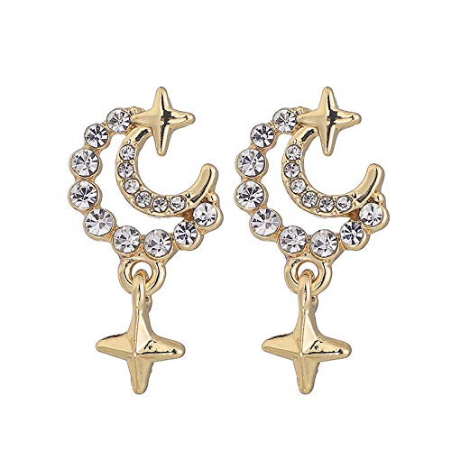 S925 aretes pequeños de estrella y luna de aguja de plata aretes de diamantes completos temperamento aretes lindos de todo fósforo