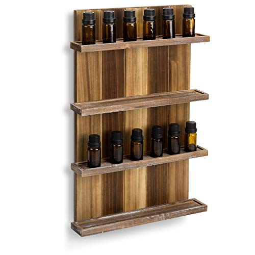 MyGift 4-Tier Wall Mounted Rustic Burnt Wood Pallet Style Essential Oil Holder Display Rack, Holds Up to 30 mL Bottles