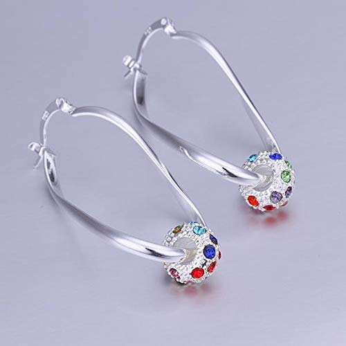 JY Wear Color Diamond Earrings Round Shape Silver Decorative Color Zircon Earrings Ladies/Stainless Steel/Hypoallergenic/Silver Glitter/Small Exquisite/Zirconia Unique/A