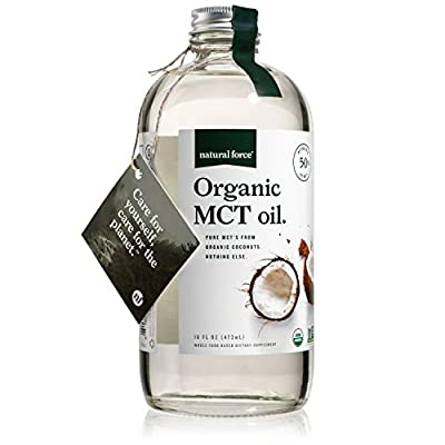 USDA Organic MCT Oil in Glass Bottle, Best for Keto Diet Recipes ? Full Spectrum C8 C10 C12 Pure Coconut MCTs ? Premium Quality & Non-GMO *Sustainable Packaging* by Natural Force