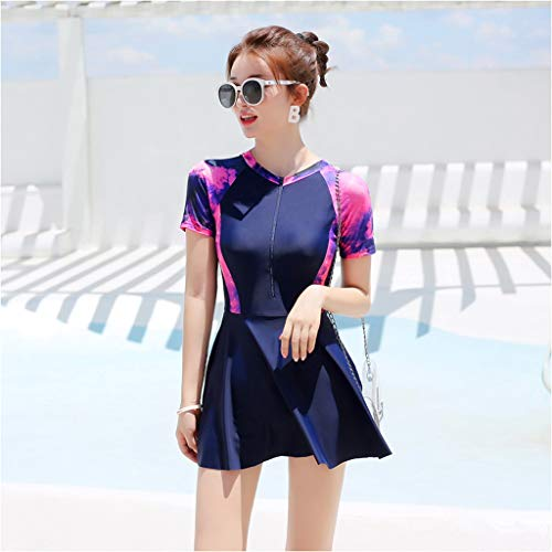 Swimsuits HAODAMAI Woman Swimwear Cover Belly Slim and Sexy Siamese Student Short Sleeve Fairy Fan Conservative Swimwear Purple (Size : L)