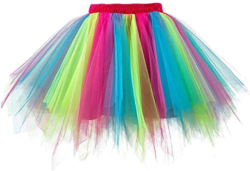 MuseverBrand 50er Vintage Ballet Blase Firt Tulle Petticoat Puffy Tutu Rainbow Small/Medium