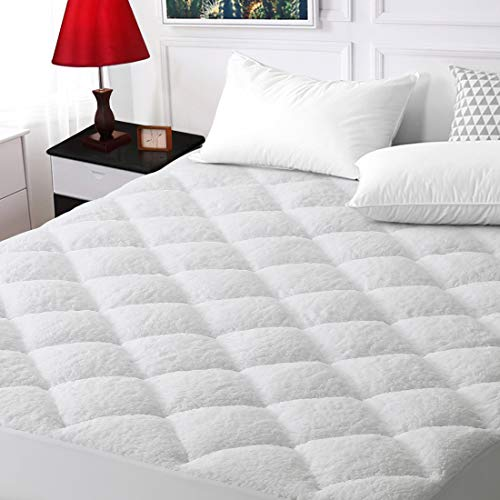 "SOPAT King Size Mattress Pad Cover Cooling Mattress Topper Reversible Top Pillow Top with Down Alternative Fill for All Seasons (8-21"" Fitted Deep Pocket)"