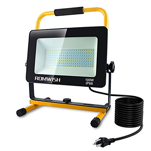 100W LED Work Light, 10000LM Super Bright Flood Light, 2 Brightness Modes, IP66 Waterproof, 16.4FT Power Cord, 5000K Daylight Portable Worklights with Stand for Workshop, Construction Site, Job Site