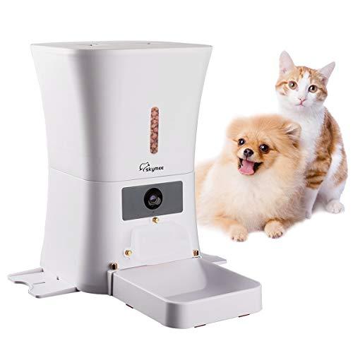 MeijieM Comedero Automático para Perros y Gatos 8L - WiFi Inteligente Alimentador para Mascotas con 1080P HD Cámara con Visión Nocturna, Audio Bidireccional, App Control Remoto con Temporizador