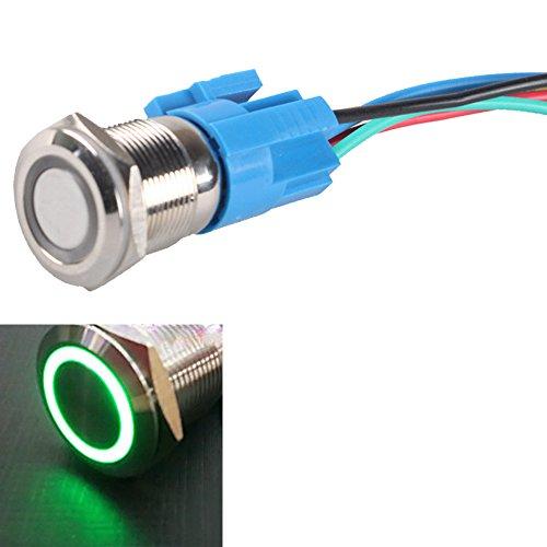 E Support&Trade; KFZ Auto Kippschalter Druckschalter Schalter Drucktaster Druckknopf 19mm 12V 5A Grün LED Metall Steckdose Stecker Draht