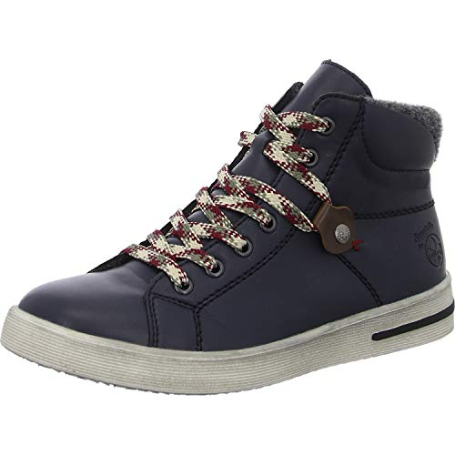 Rieker Damen Sneaker, Frauen High-Top-Sneaker, leger sportschuh schnürschuh Sneaker-Stiefel mid Cut Lady,Ozean,38 EU / 5 UK
