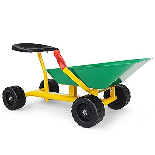 Costzon Kids Ride-on Sand Dumper, Children Outdoor Sandbox Toy w/ Ergonomic Handle & 4 Wheels, Heavy Duty Steel Digging Scooper Excavator Crane, Metal Garden Play Tool for Boys Girls, Kids Wheelbarrow