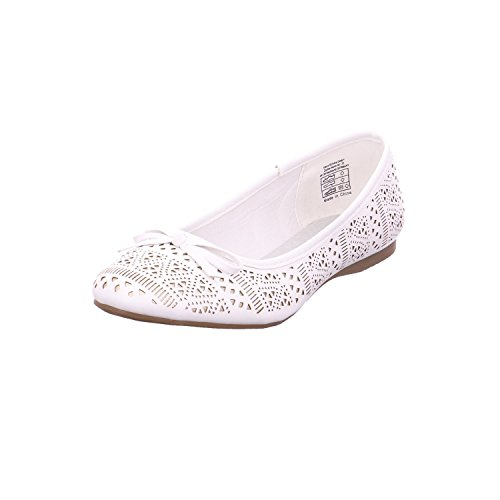 JANE KLAIN damesschoenen ballerinas 221-836 design cut in wit met strik