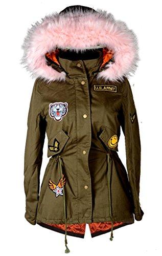 Italy Donna dames XXL bontkraag capuchon winter jas parka mantel warm 34 36 38 40 42 44 XS S M L kaki roze anorak legergroen militair