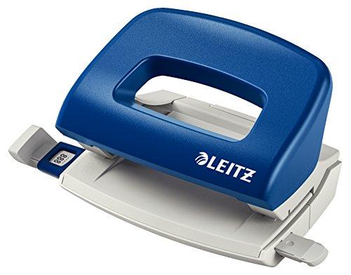 Leitz Mini Büro Locher aus Metall, kleiner Locher für 10 Blatt, Anschlagschiene mit Formatangaben, Ergonomisches Design, blau, 50580035