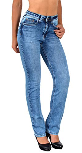 ESRA Damen Straight Fit Jeans Hose Damen Jeanshose gerader Schnitt bis Übergröße G700