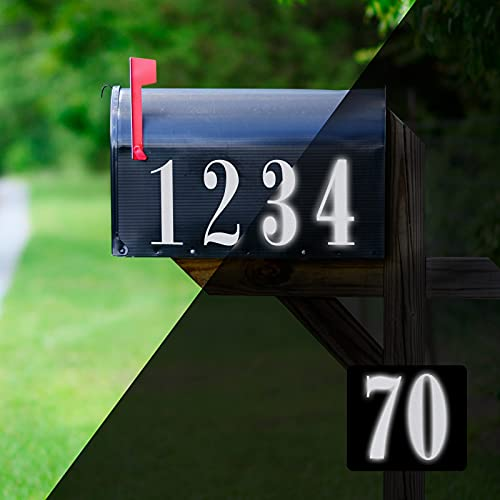 70 Pieces Reflective Mailbox Numbers Sticker Decal Die Cut Roman Style Vinyl Waterproof Mailbox Signs Self Adhesive 0-9 Number Mailbox Sticker for Sign, Door, Car, Truck, Home Number, Address Plaque