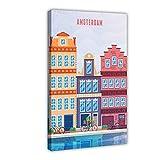 Póster vintage de Ámsterdam Londres Roma Viajes Rotterdam París Países Bajos I lienzo decoración dormitorio arte pop oficina decoración marco regalo 40 × 60 cm