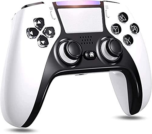 PS4 コントローラー ワイヤレス [2021最新] 背面ボタン搭載 Bluetooth接続 1000mAh大容量 二重振動 ジャイロセンサー機能 イヤホンジャック タッチパッドやビルトインスピーカー ゲームパット搭載 PS4 Pro/Slim PC Win10対応(ブラック&ホワイト)
