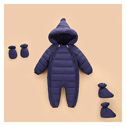 GuanRen New Born Baby Sumpsuit Disfraz Mamálicos Muchacha Color Down Algodón Niño Snowsuit Hooding Boys Mods Otoño Invierno Crawling Ropa (Color : Navy Blue, Size : 12M)