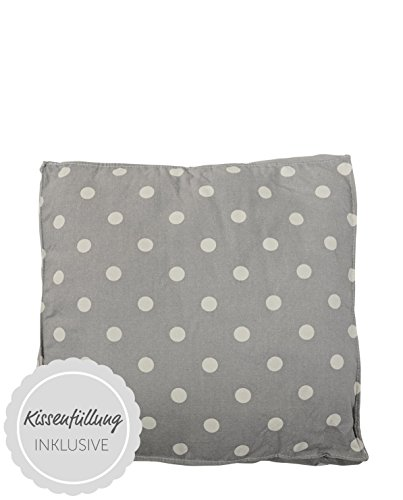 Bloomingville Box Cushion, Cool Grey w/Kit Dots L50xH10xW50 cm