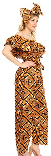 Sakkas 2188 - Lelisa အချိုးမညီသည့် Long Ruffle Jumpsuit ဖယောင်းအိတ်များနှင့်အာဖရိကန်အင်ကာရာဒတ်ခ်ျလူမျိုးများ - ၃၀ - Multi - OS