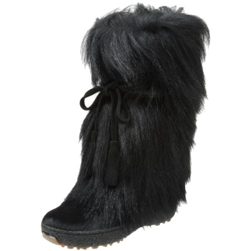 Pajar Women's Scarlet Tassle Tie Goat Hair Boot,Black,38 EU / 7-7.5 B(M)
