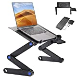 Casturu Folding Laptop Desk, Adjustable Laptop Stand, Portable Table for Laptop,Bed Tray Table with Mouse Pad Plate and Cooling Fan.Use for Desk Sofa Bed