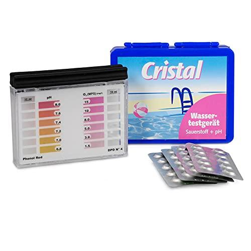 Cristal Wassertestgerät pH und Aktivsauerstoff im Poolwasser - Messgerät für den Pool, pH- und Sauerstoff-Wert, einfache Anwendung, Pooltester manuell