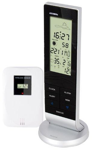 Alecto WS-1150 Digitaal weerstation radio, veel opties en draadloze sensor Alecto voor het meten van temperatuur, luchtvochtigheid binnen en buiten, maanfase