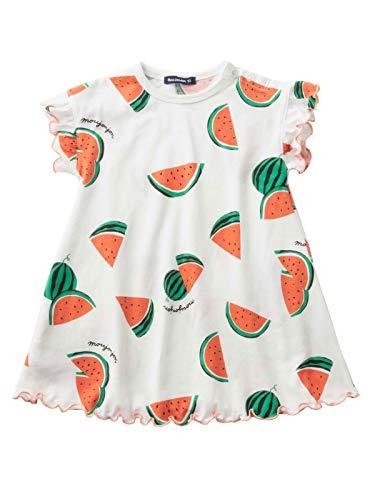 Moujonjon(ムージョンジョン) ベビー服 日本製 プリント ワンピース 赤ちゃん ベビー 女の子 ポケット付き 半袖 80�p ホワイト