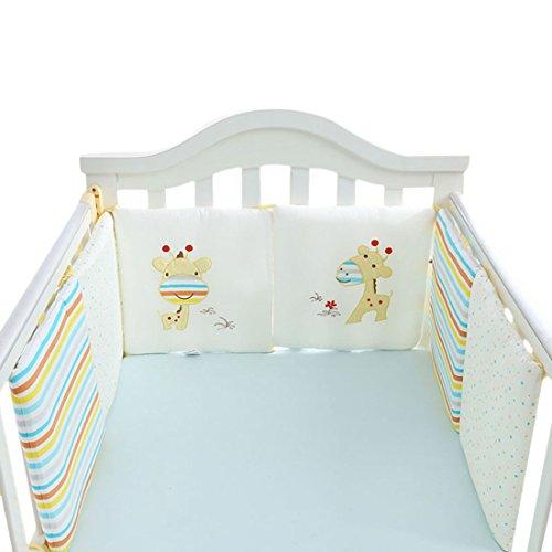 Jiyaru Ropa para cuna camas de bebé 6 Piezas Set Protector de Cuna 30 * 30 cm con Algodón (Jirafa)